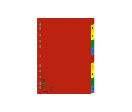 Donau Regiszter, műanyag, A4, 1-10, színes