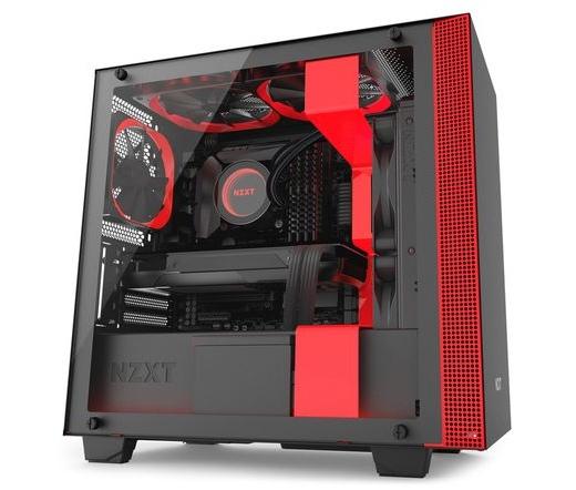 NZXT H400i matt fekete + piros