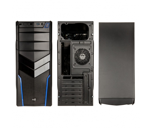 AEROCOOL V2X Blue Edition Midi-Tower fekete/kék